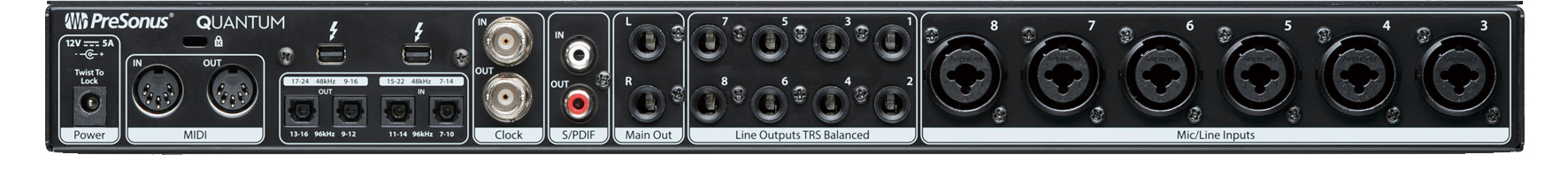 ▲Quantumのリア・パネル。左から、MIDI IN&OUT、Thunderbolt端子×2、ADAT&S/MUX OUT×2とIN×2(オプティカル)、クロック入出力(BNC)、S/P DIF IN&OUT(コアキシャル)、Main Out(フォーンL/R)、Line Outputs×8(フォーン)、Mic/Line Inputs×6(XLR/フォーン)